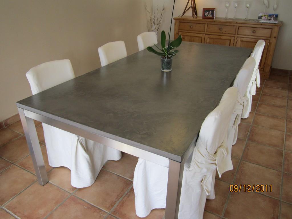 Table Beton Cire avec mobilier en béton ciré auto-lissant - bellissima béton - toulouse